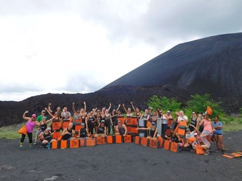 image of the group volcano boarding in Nicaragua