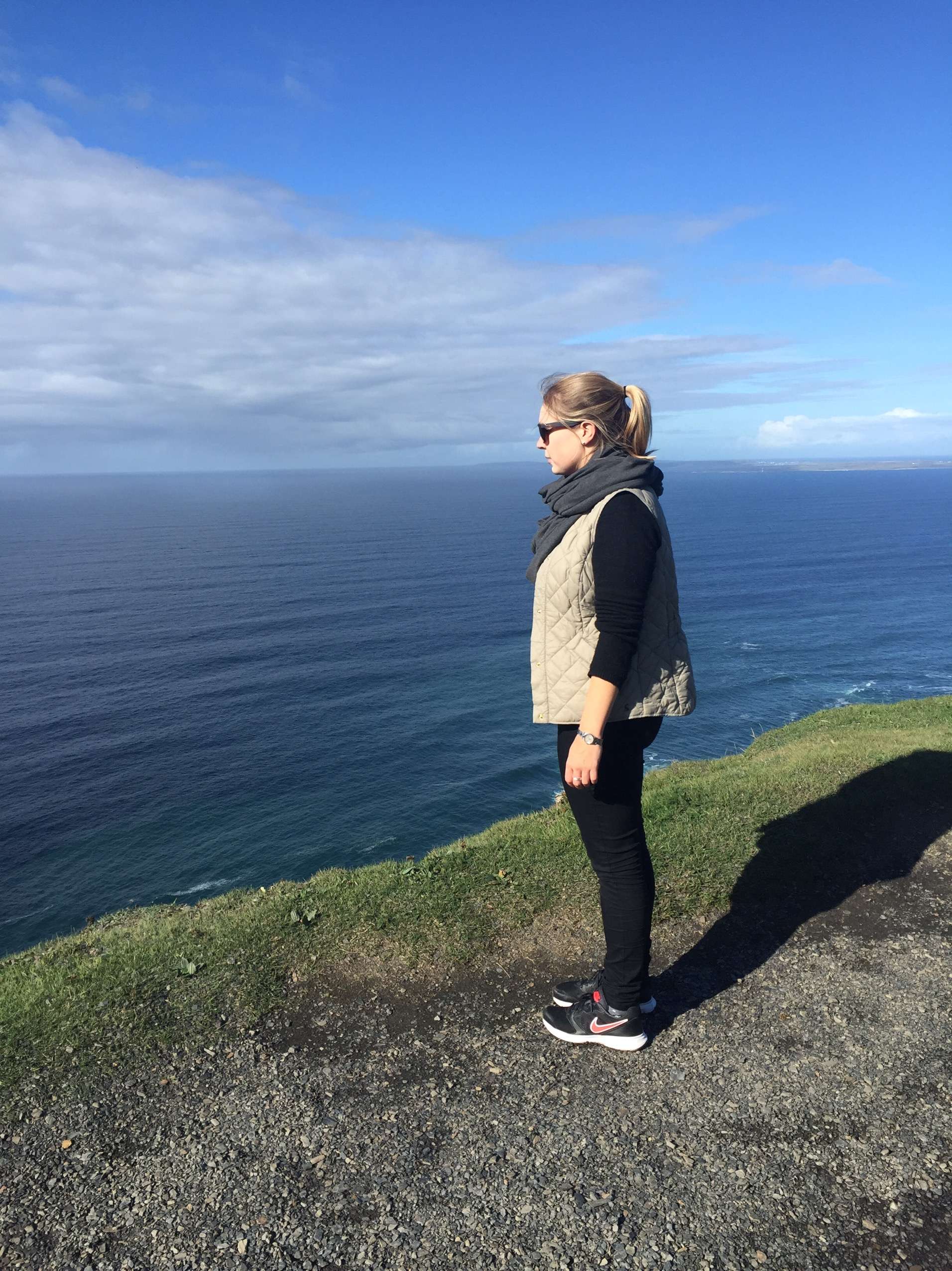 picture of Charlie gazing out from Cliffs of Moher, Galway