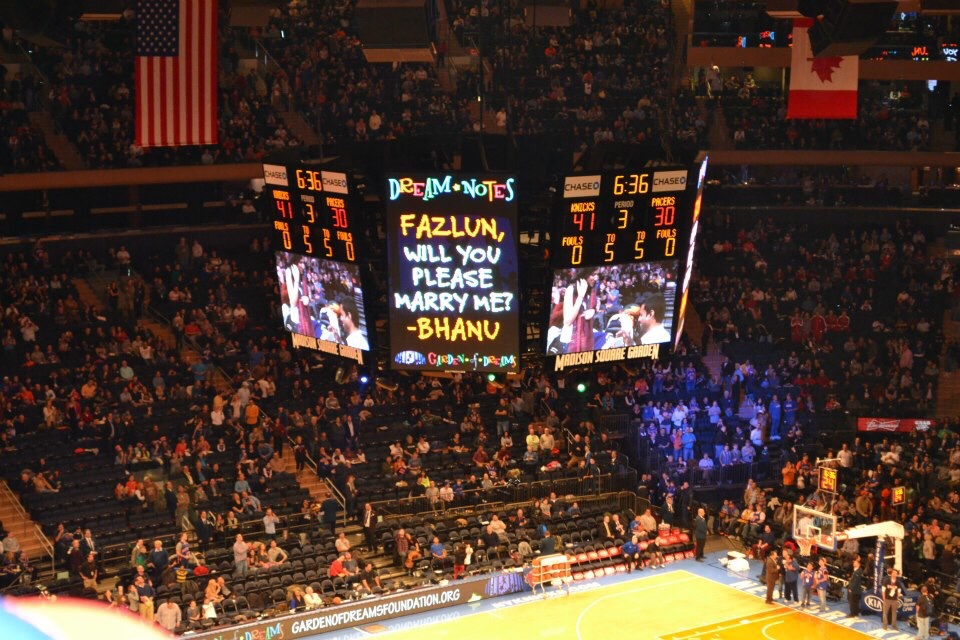 Image of proposal at Madison square gardens