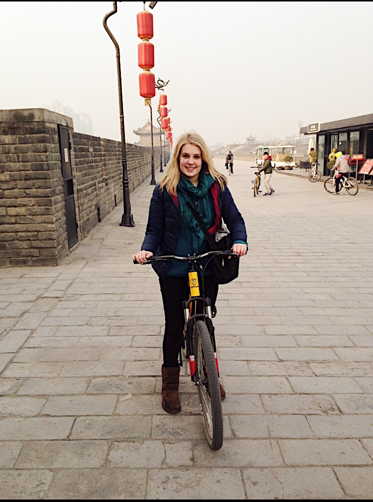 Image oc cycling around city walls in Xi'an in China