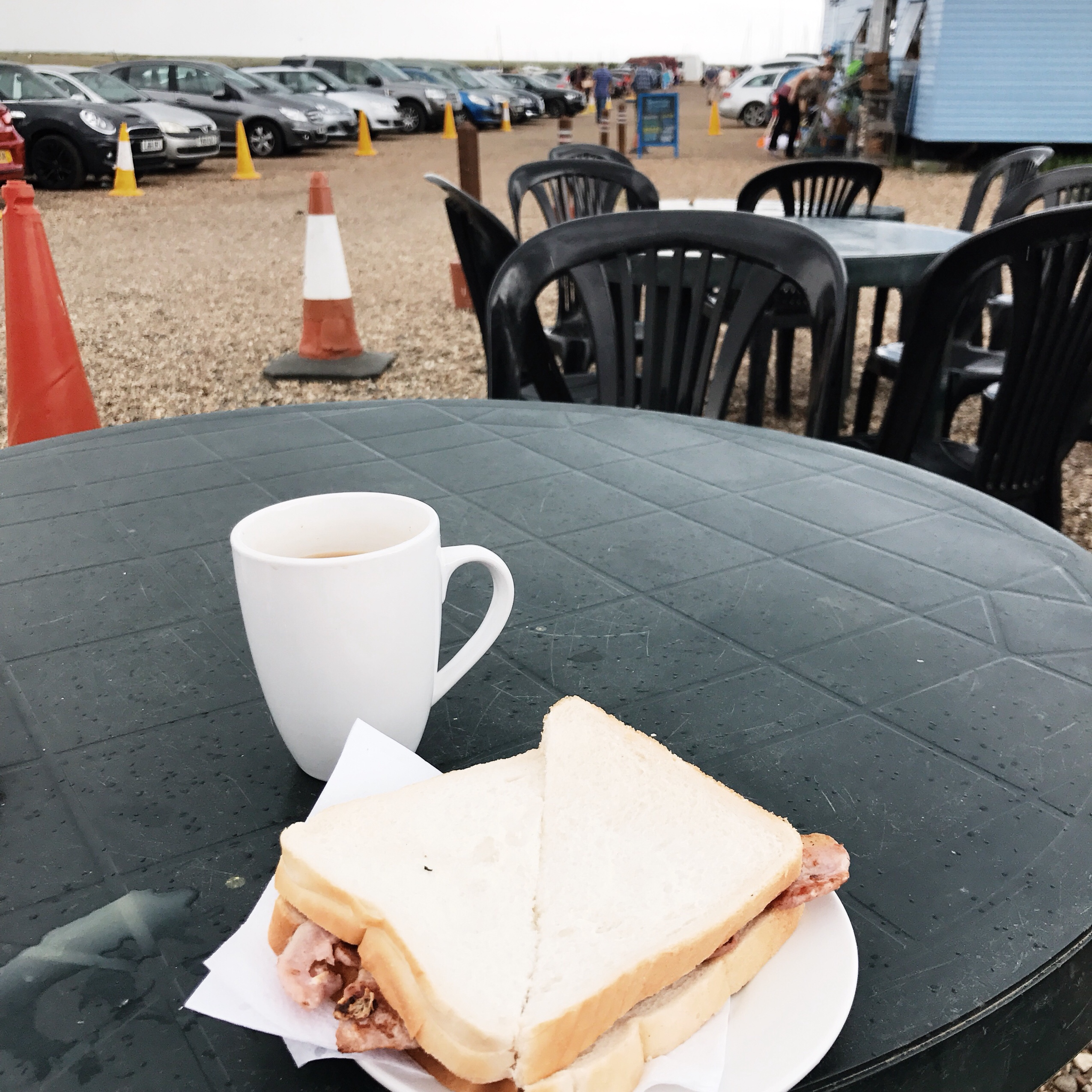 image of bacon sandwich at Blakeney Quay in Norfolk