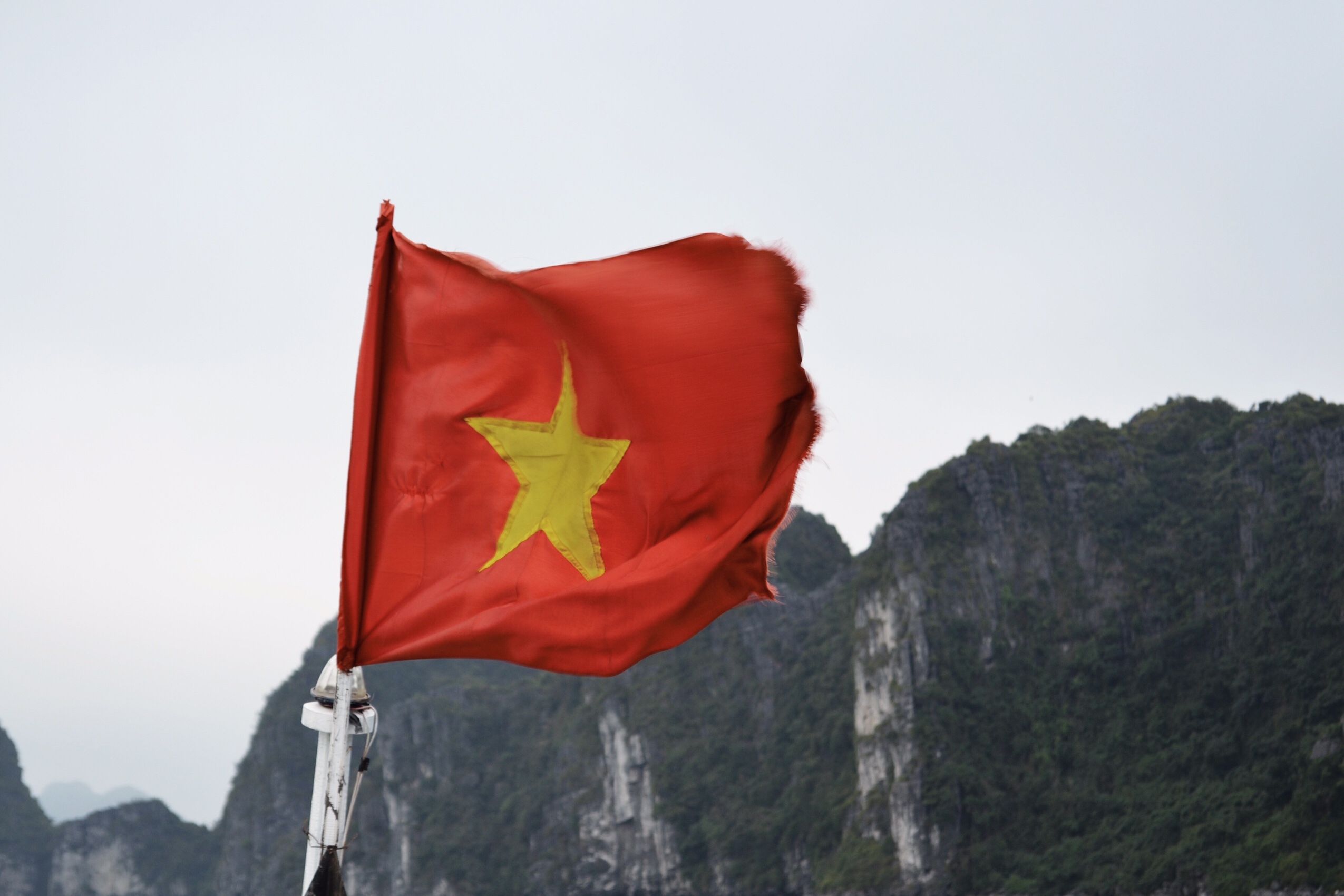 Image of flag of Vietnam in Halong Bay