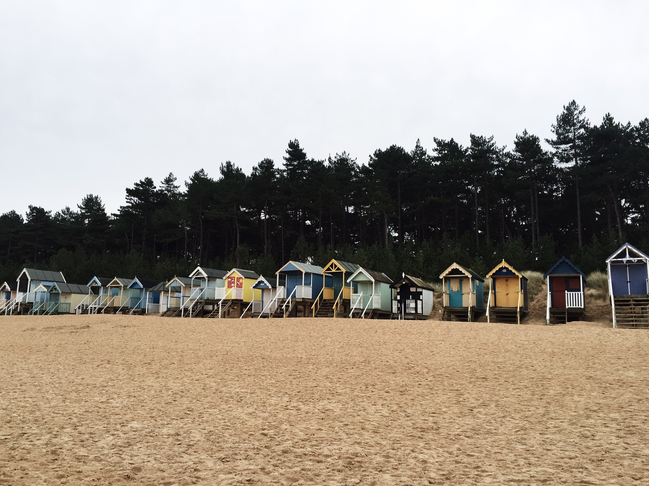 image of beach huts on wells-next-the-sea beach in Norfolk