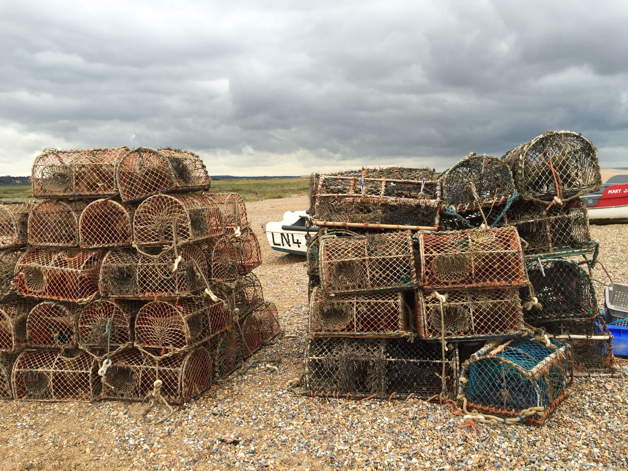 image of fishing nets on cley beach in Norfolk
