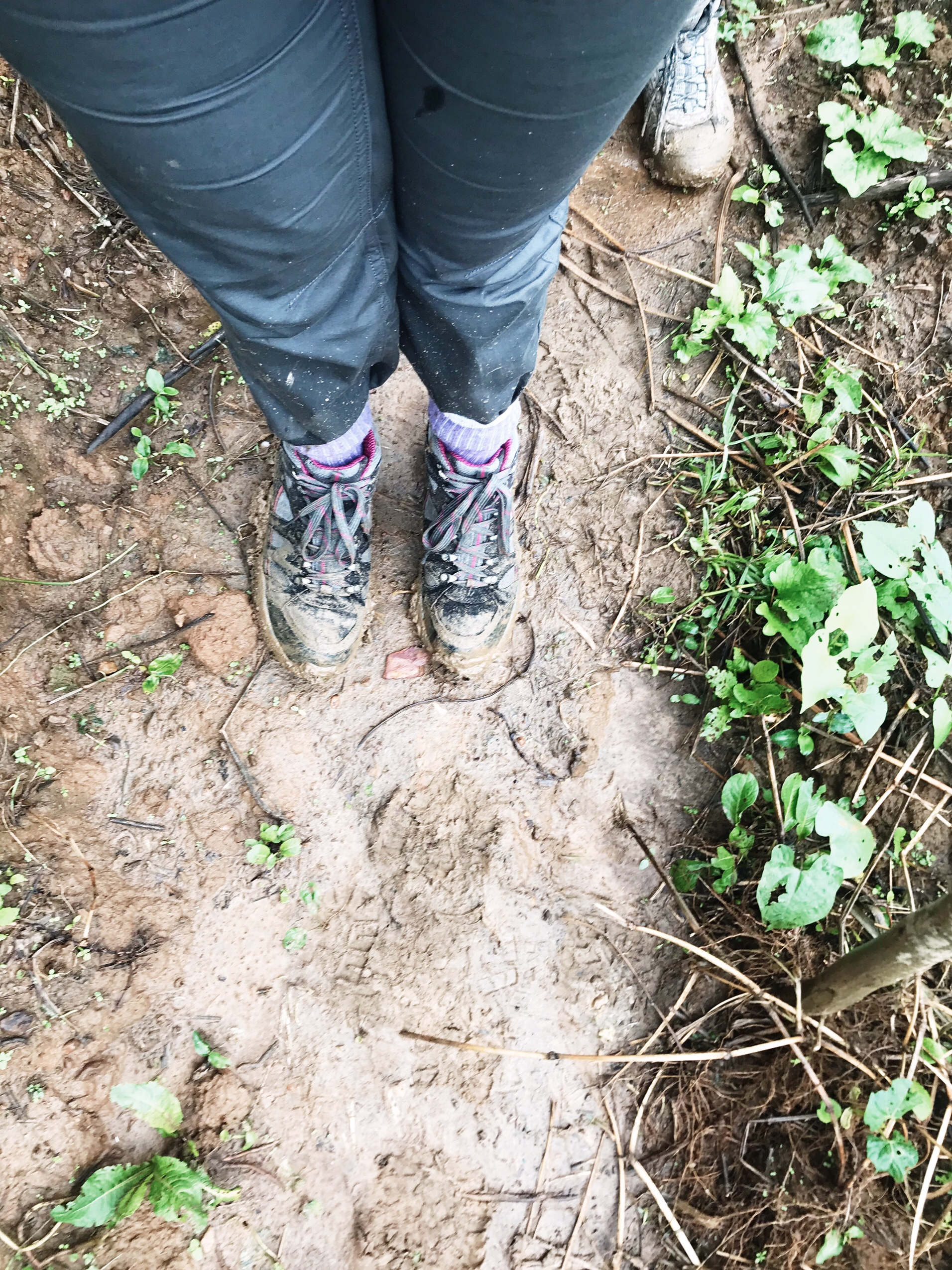 muddy shoes from gorilla trekking in Uganda
