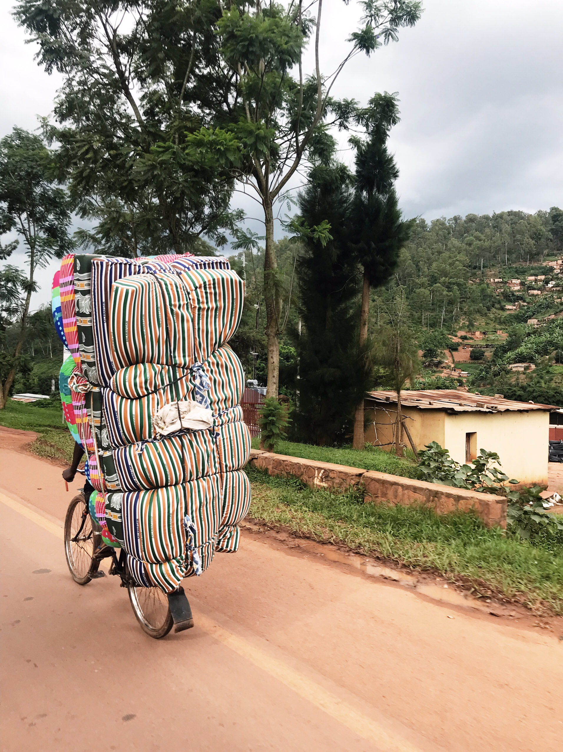 Image of mattresses on a bike in Rwanda