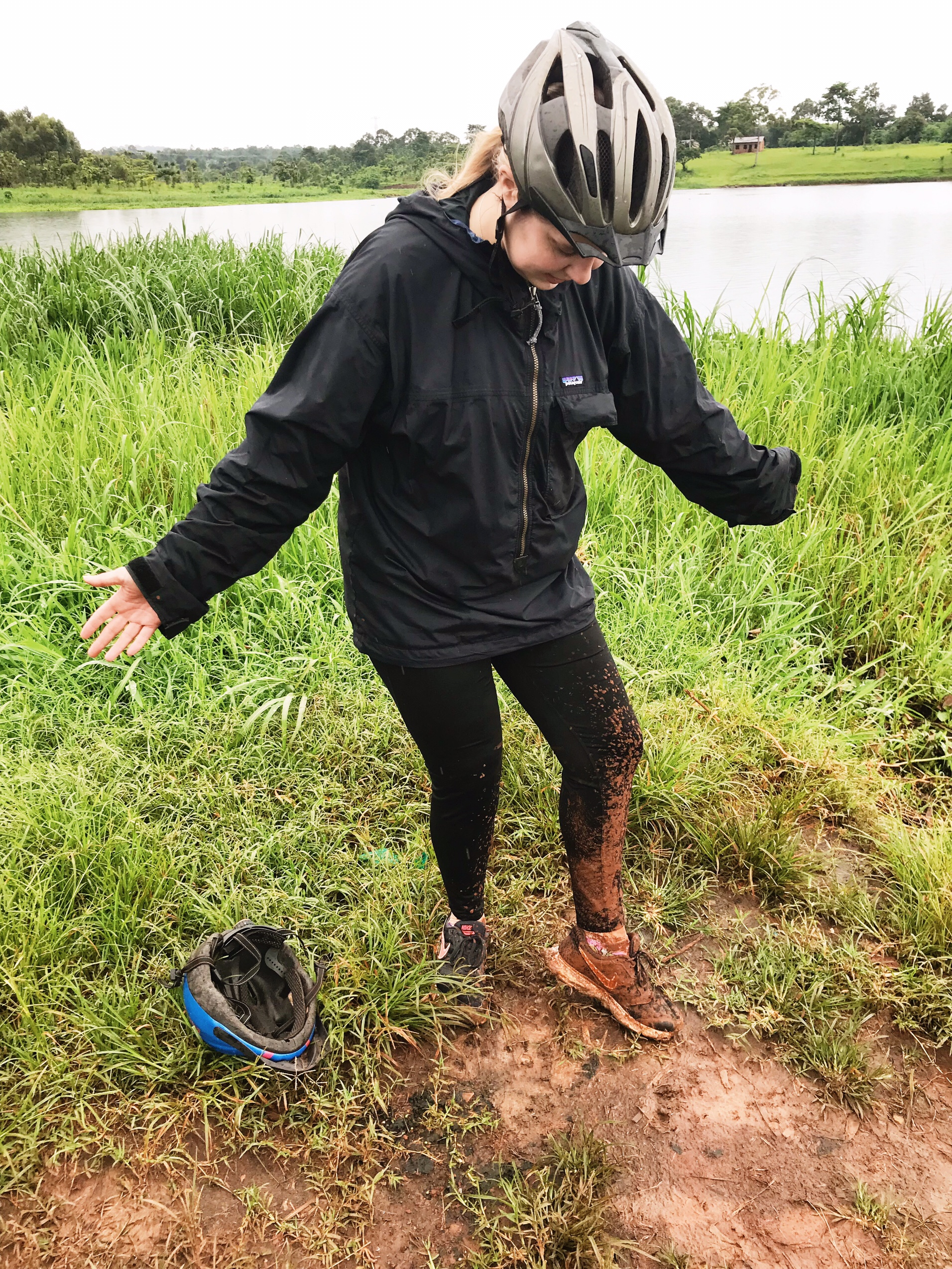 Image of muddy from bike riding in Jinja