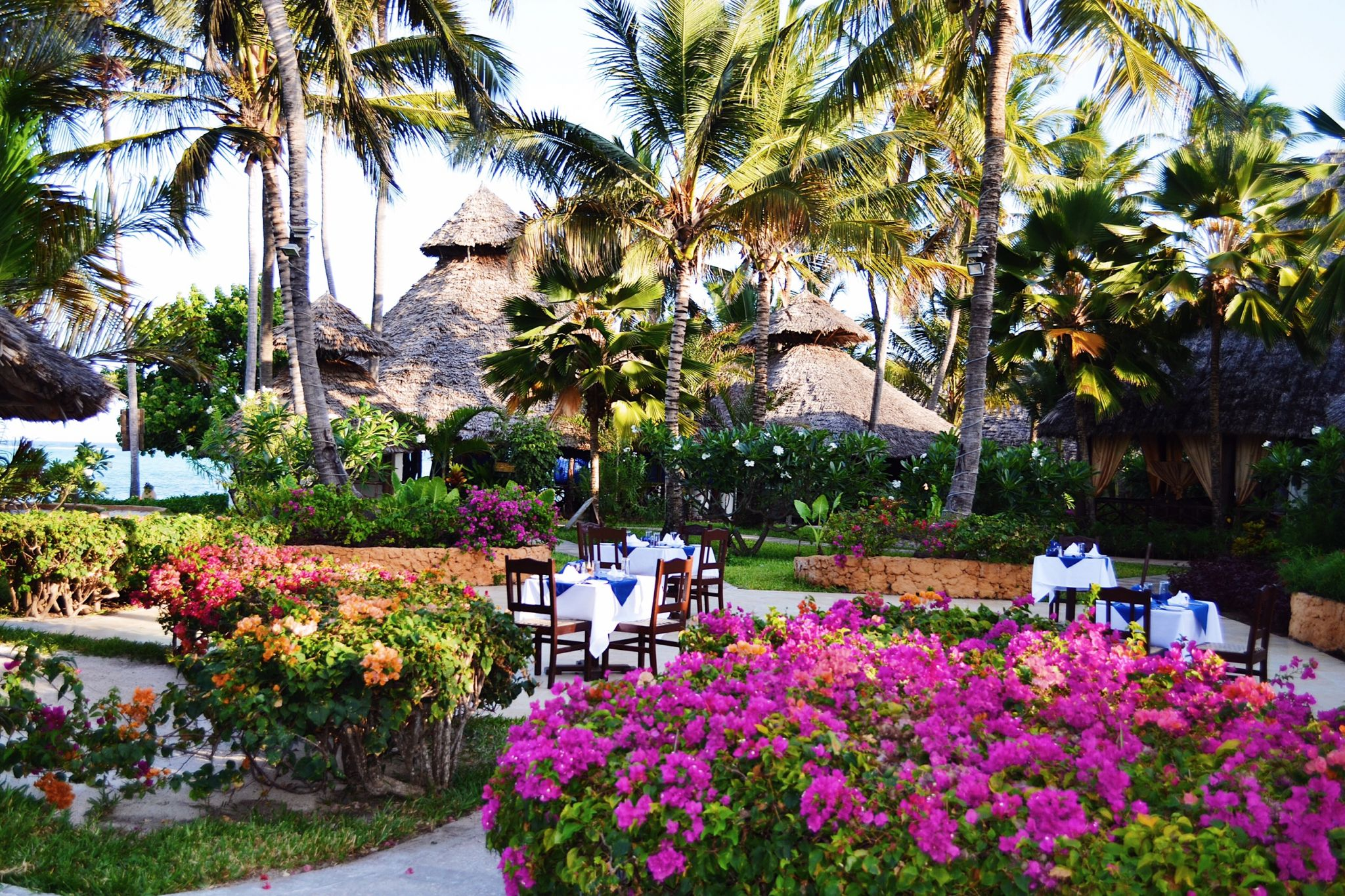 image of restaurant area at Dongwe Club in Zanzibar