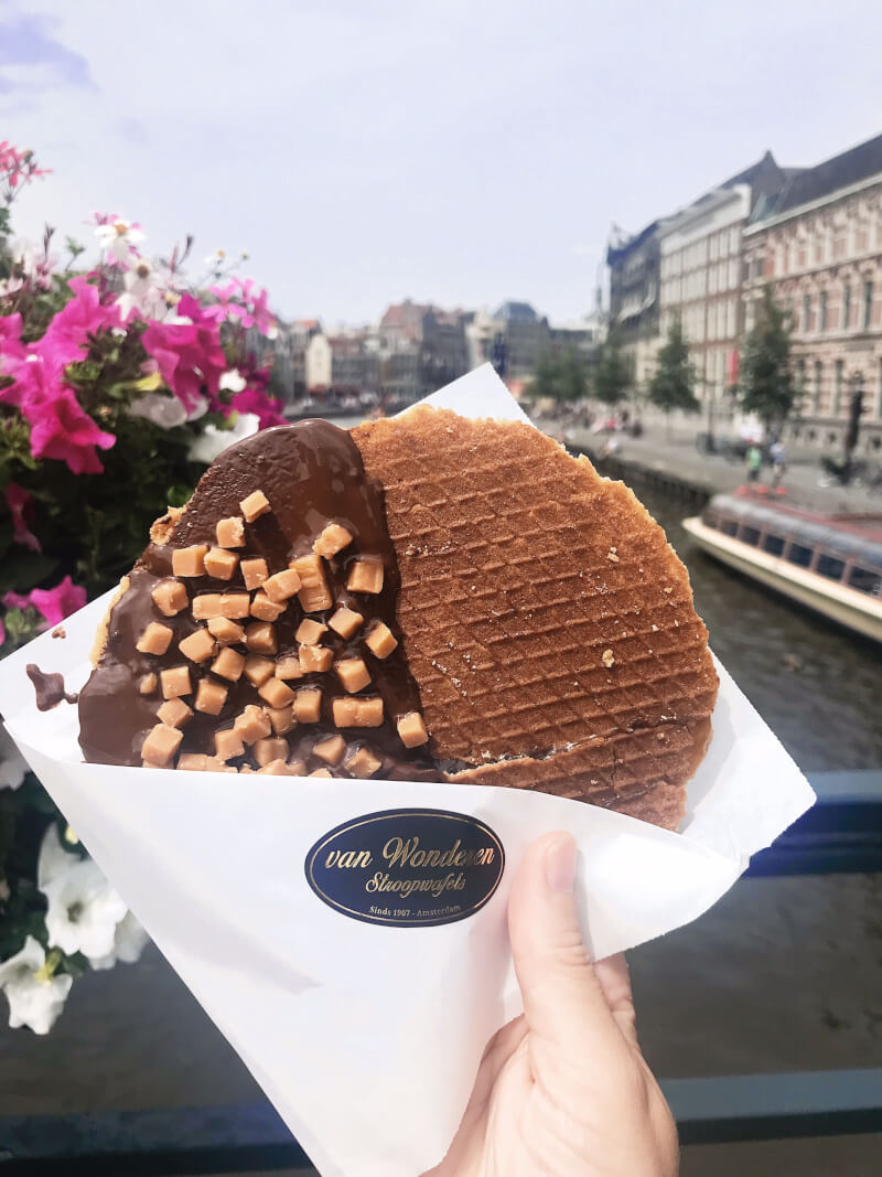 image of van wonderen stroopwafel and canal in Amsterdam, which is a must in 48 hours in Amsterdam