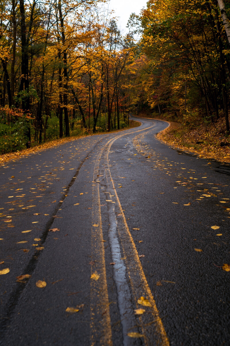 Image of a road in New England