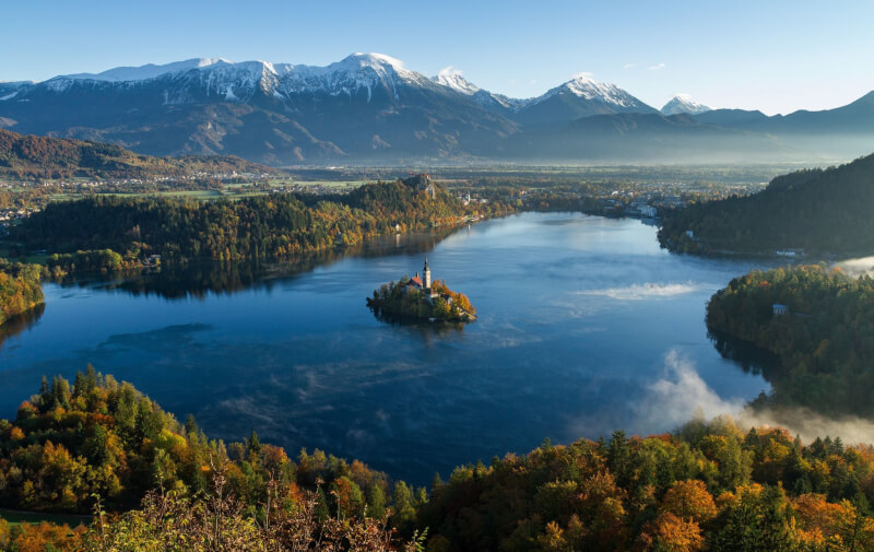 Image of Lake Bled, where to travel to in Autumn