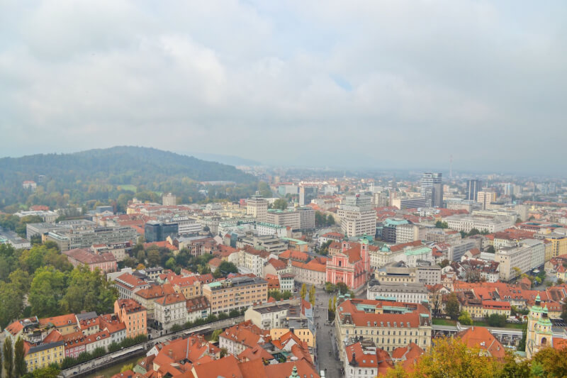 image of view from Ljubljana castle, one of the best things to do in Ljubljana