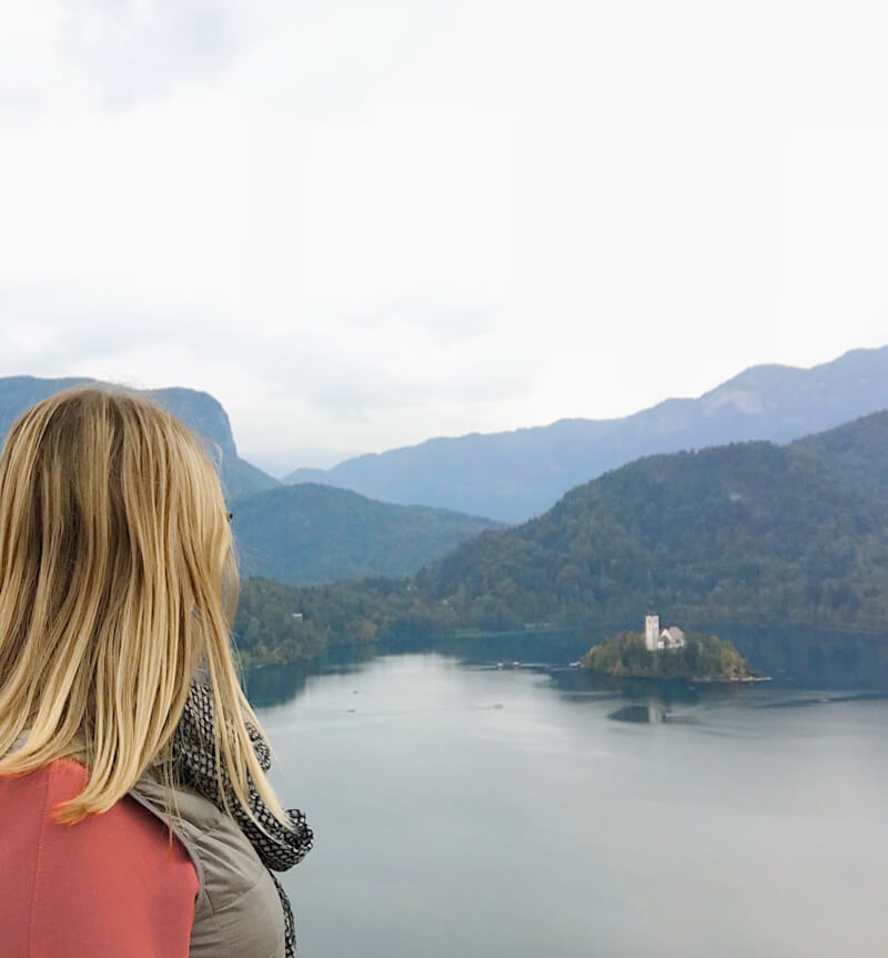 image of view of lake bled from Bled Castle