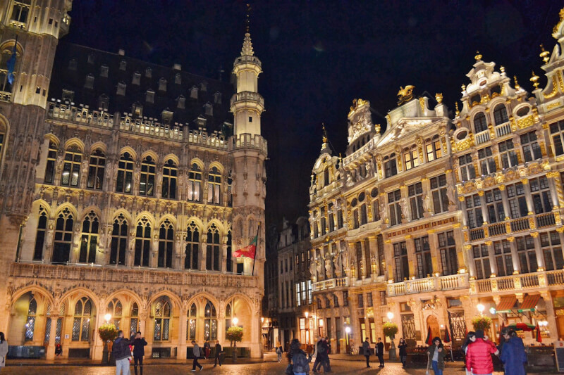 image of grand place at night