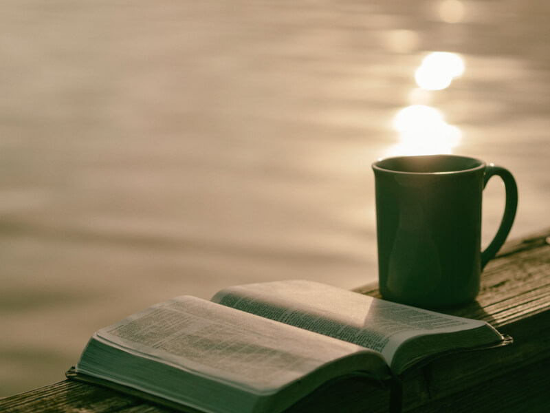 Image of a book and a cup of tea by the water - the best way to enjoy a best travel book