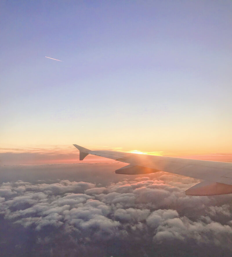 Image of a plane at Sunset
