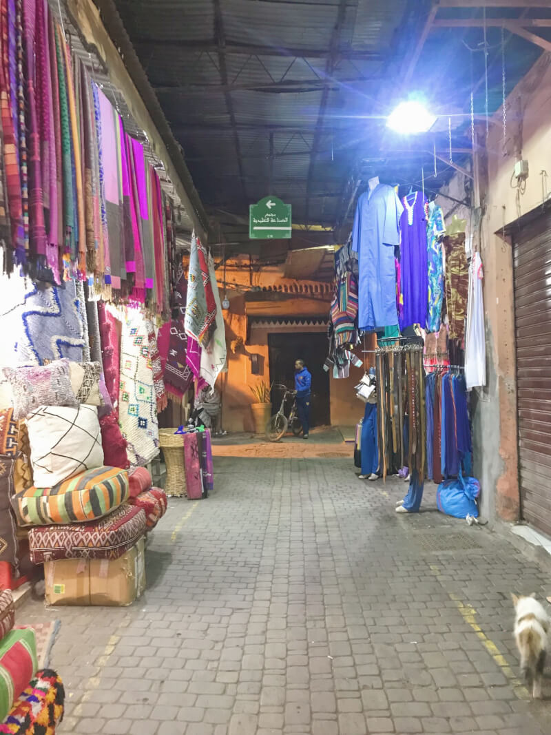 image of souks in Marrakech at night