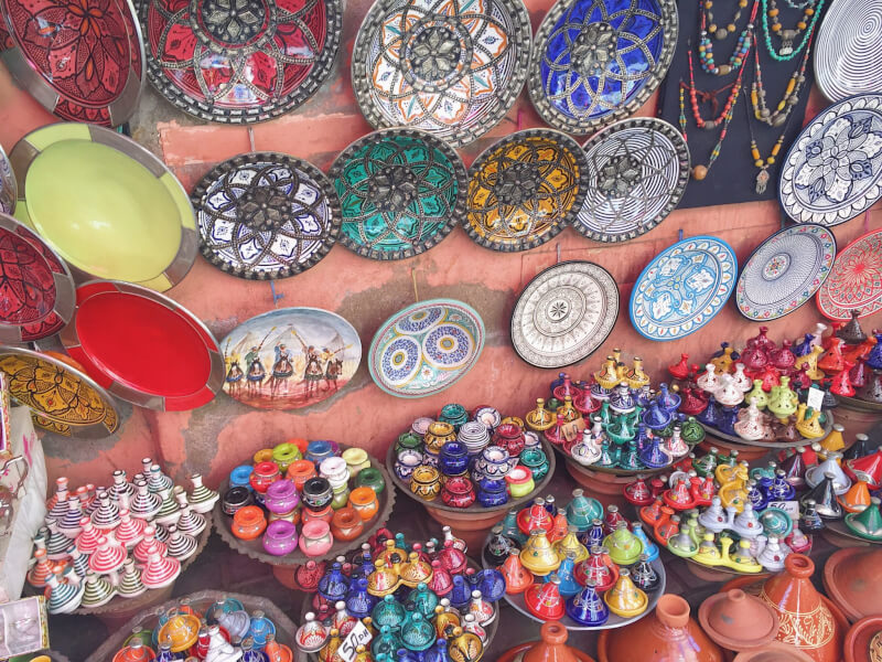 image of pottery in souks of marrakech