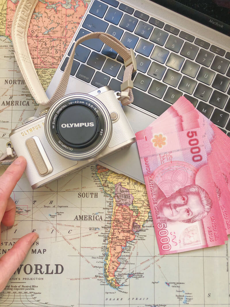 image of camera and money to pack early to help beat jet lag