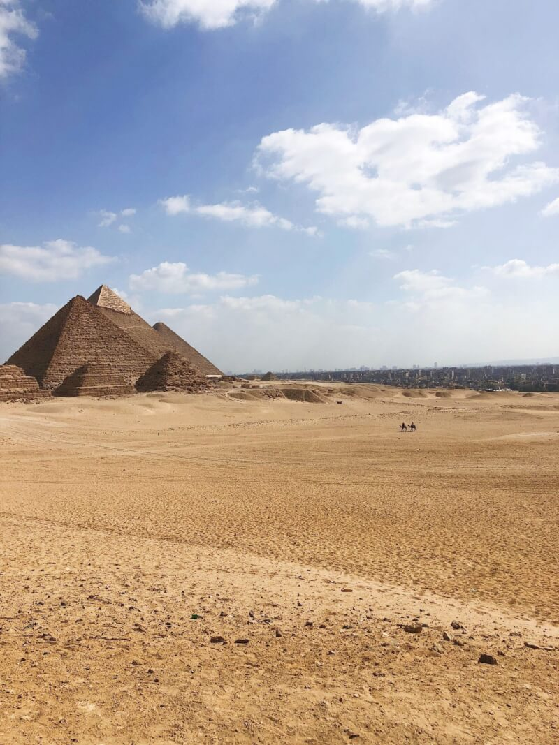 Panoramic view point of pyramids of Giza