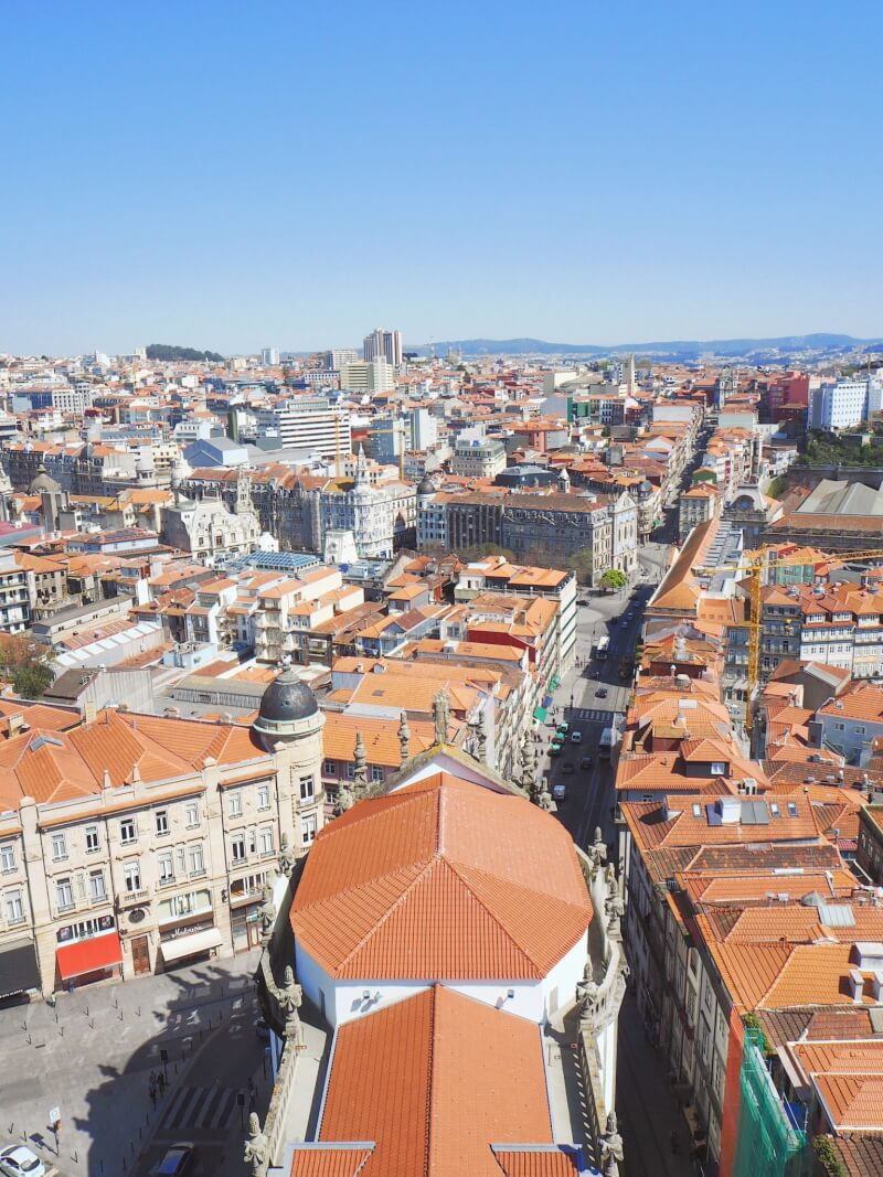 View from the top of Clérigos tower in Porto
