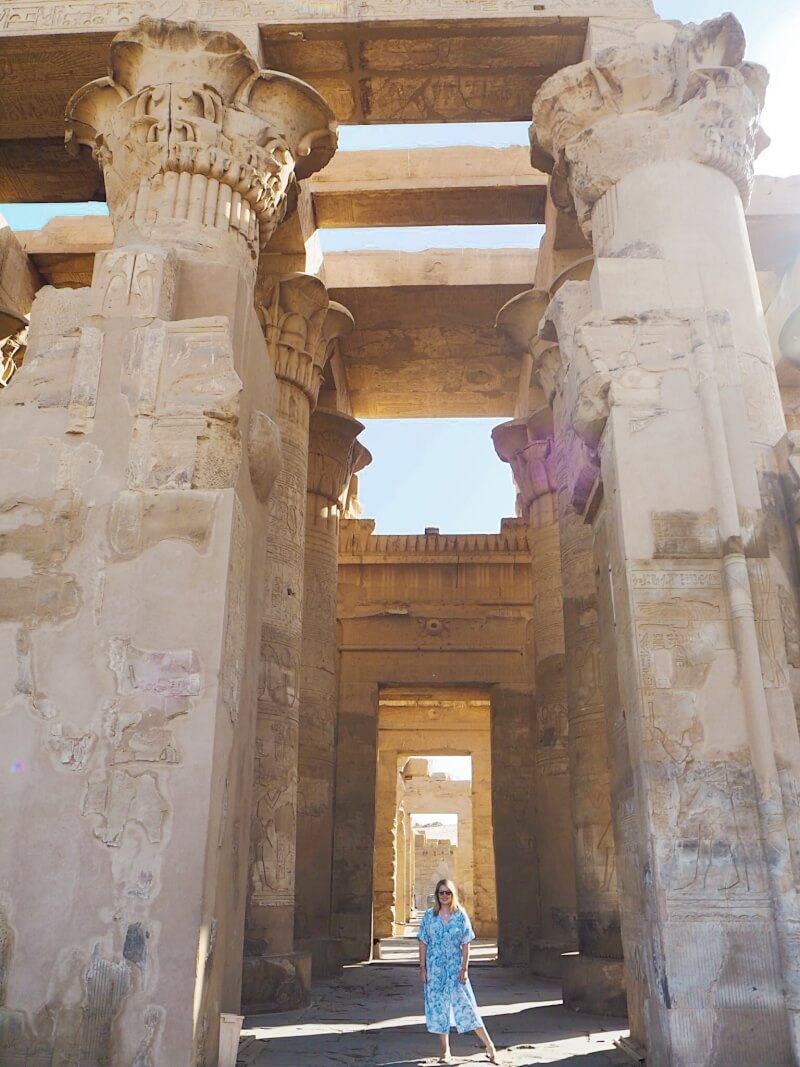 standing in the temple of Kom Ombo