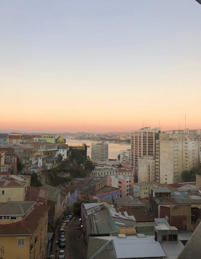 Sunset views from a rooftop bar in Valparaiso