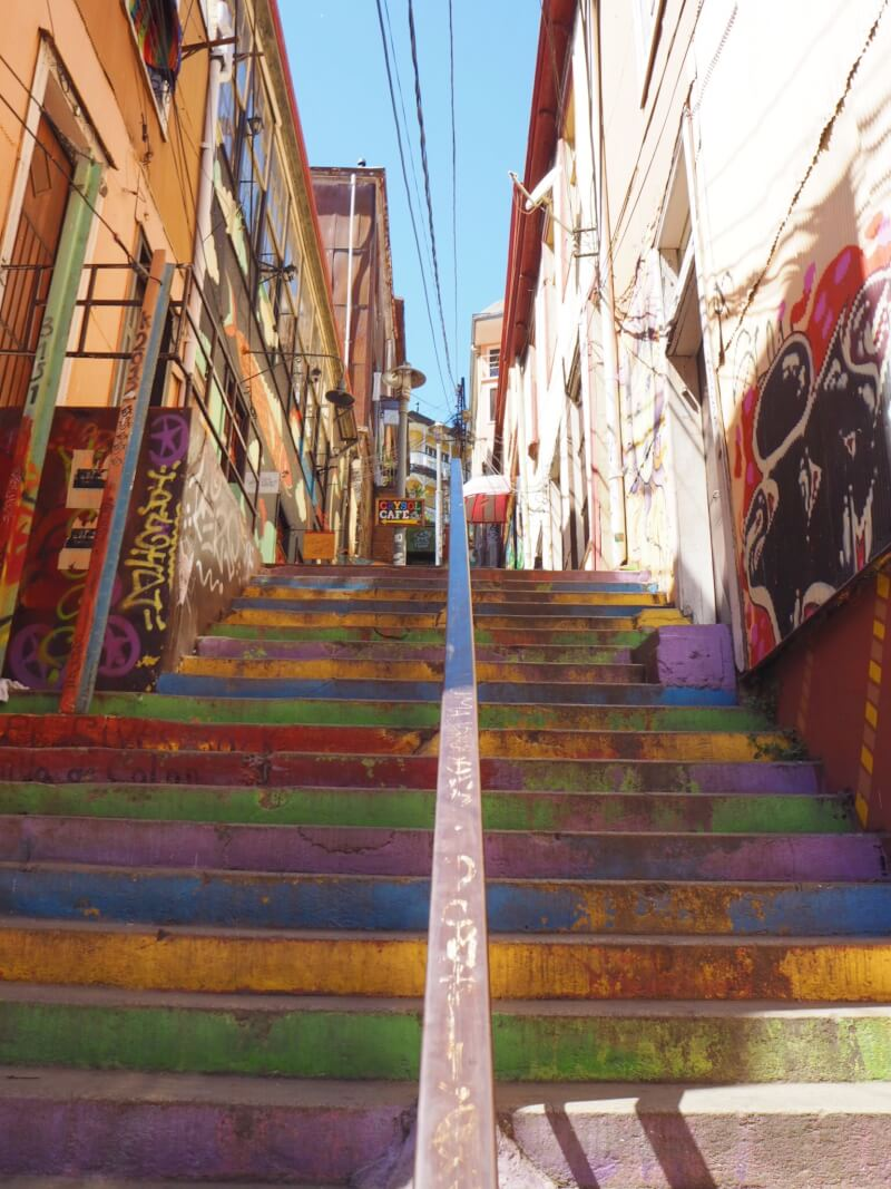 famous brightly painted steps in Valparaiso