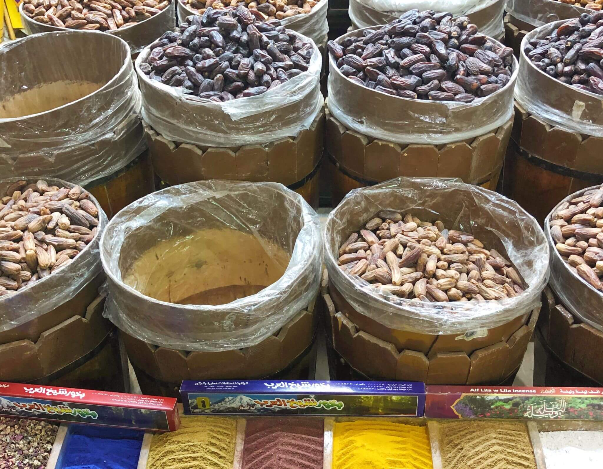 image of blue and yellow spices in the souk in Aswan