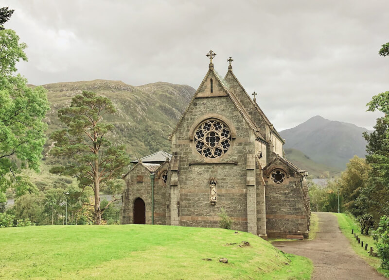 image of Glenfinnan church in front of Loch Shiel