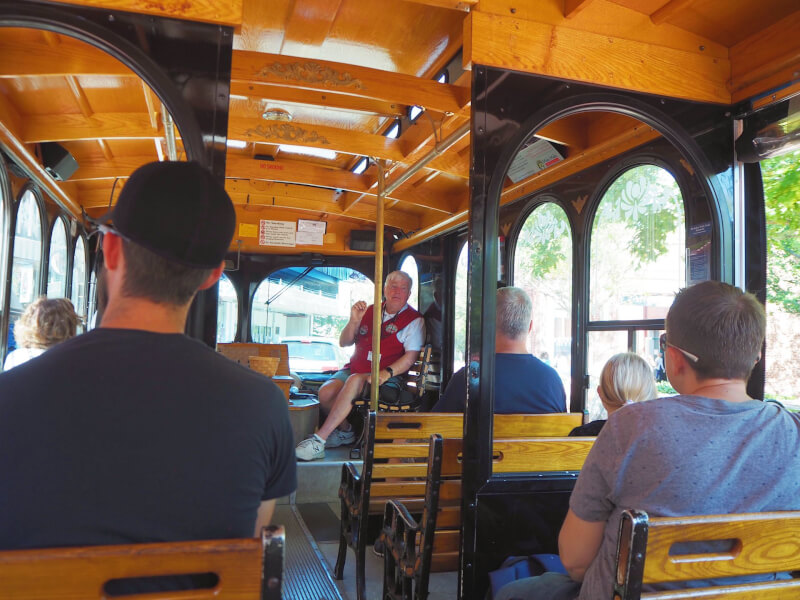 image of the inside of a Salem Trolley Tour