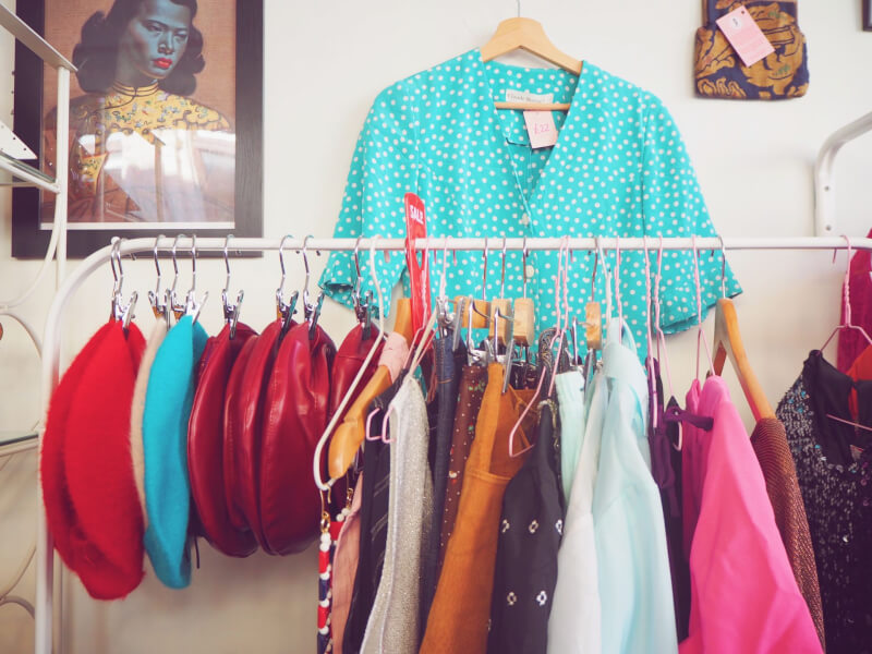 image of clothes inside Peony Vintage on a microgap to margate