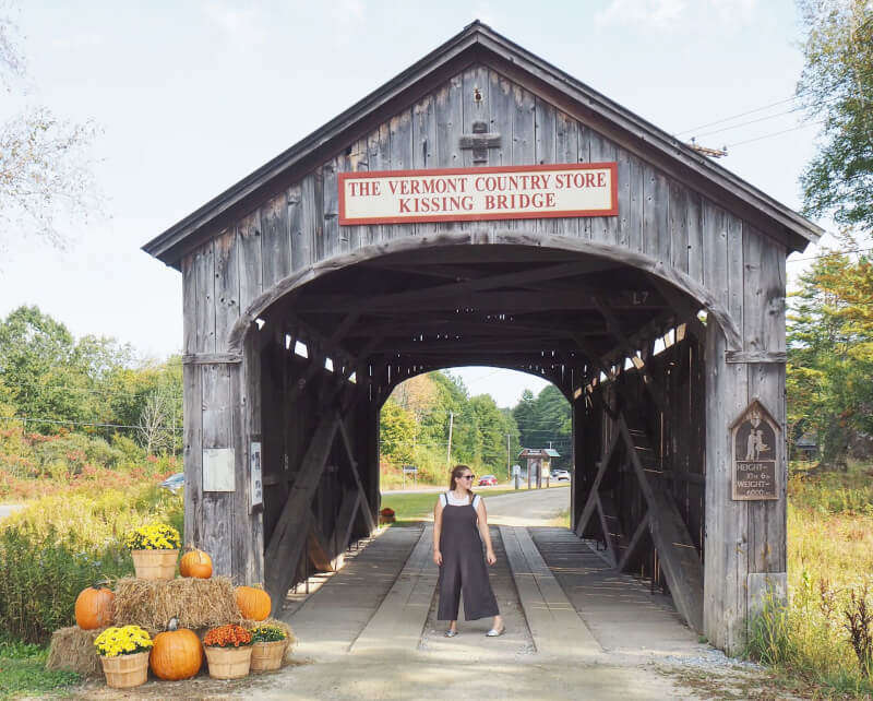 image of the kissing covered bridge in Vermont country store
