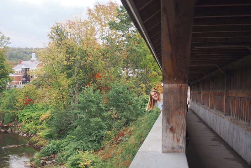 image of pedestrian covered bridge in Vermont