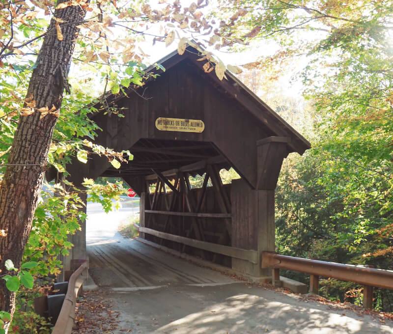 image of Emily's Bridge in Stowe against the gold and green leaves of falll