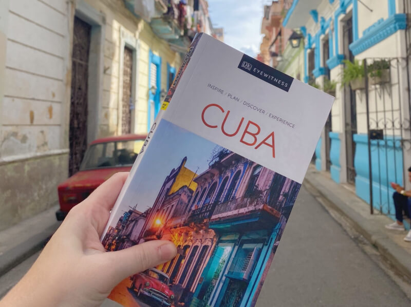 image of Cuba guide book in street of Havana