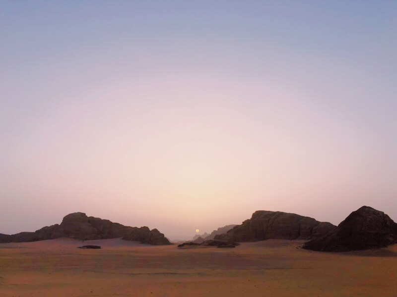 image of sunset in Wadi Rum