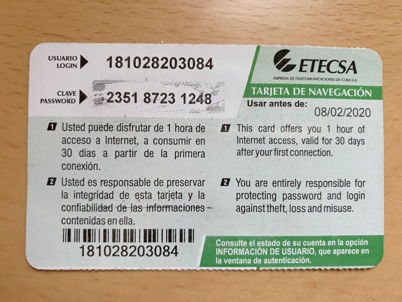 image of Cuba WiFi card, useful to know before going to Cuba