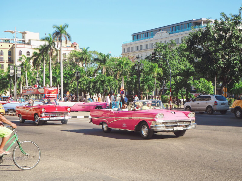 image of driving in a classic car in Havana