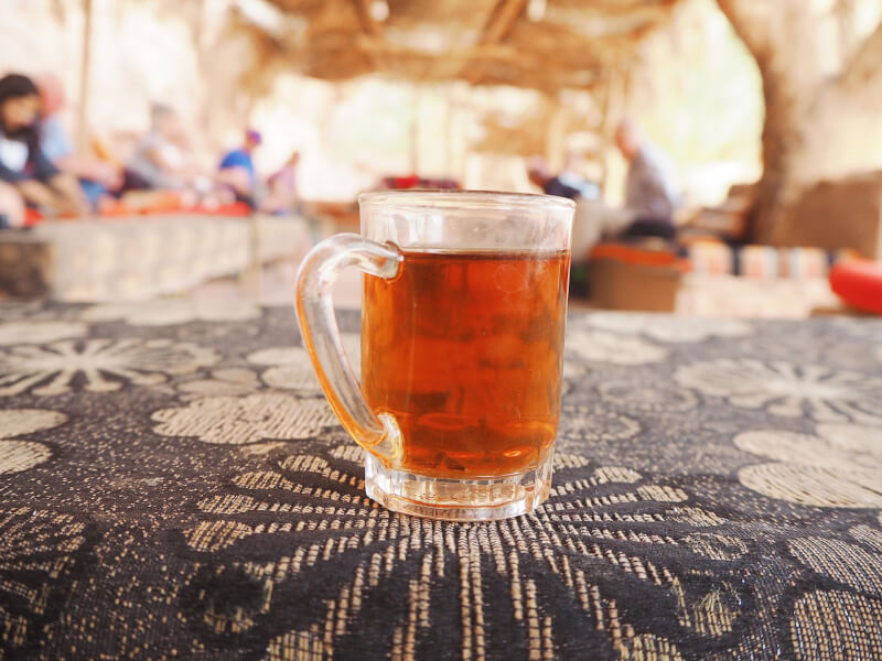 image of tea before staying in Wadi Rum Bedouin Camp