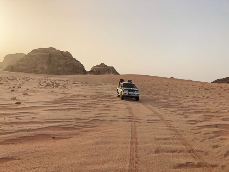 image of jeep tour through Wadi Rum