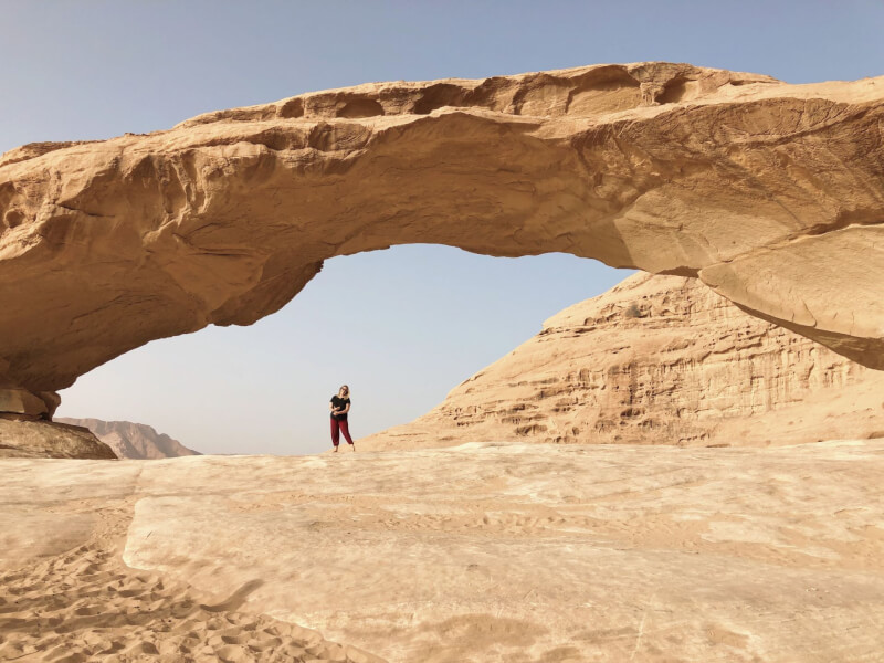 image of rock bridge from Aladdin in Wadi Rum