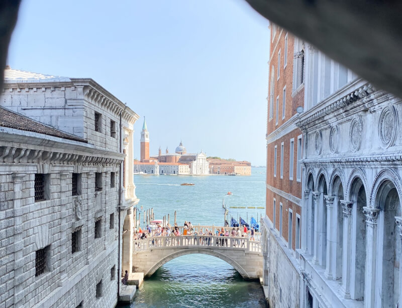 image of view from inside the Bridge of sighs, Venice