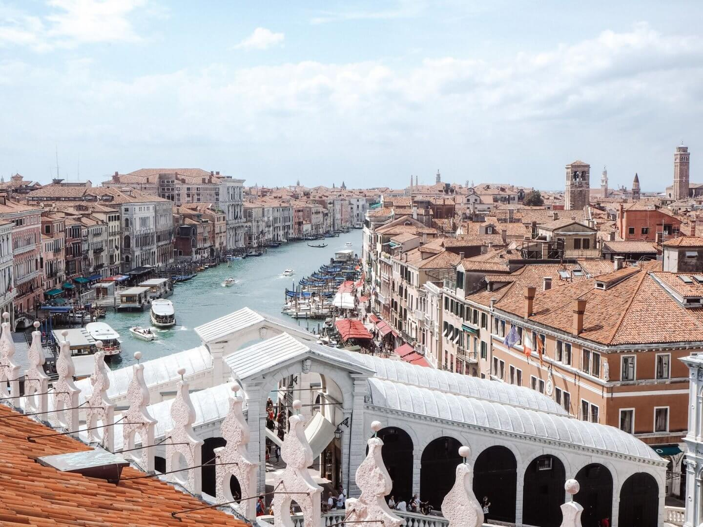 image of view of Grand Canal from t fondaco Rooftop Terrace. 3 days in Venice