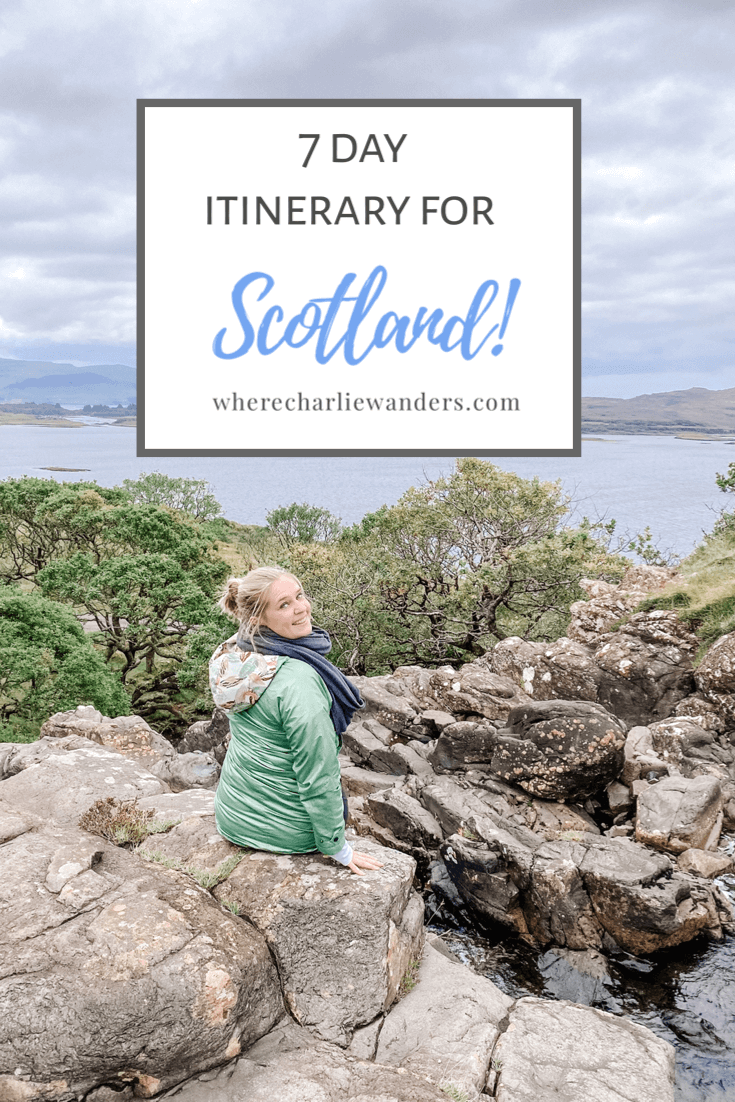 image of 7 day itinerary for Scotland pin graphic