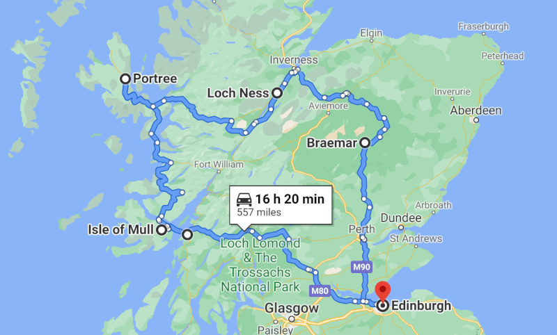 image of map of 7 day Scotland itinerary