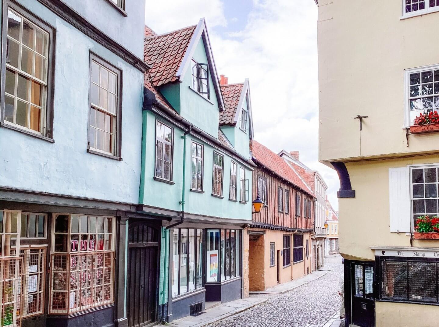image of elm hill in Norwich, 2020