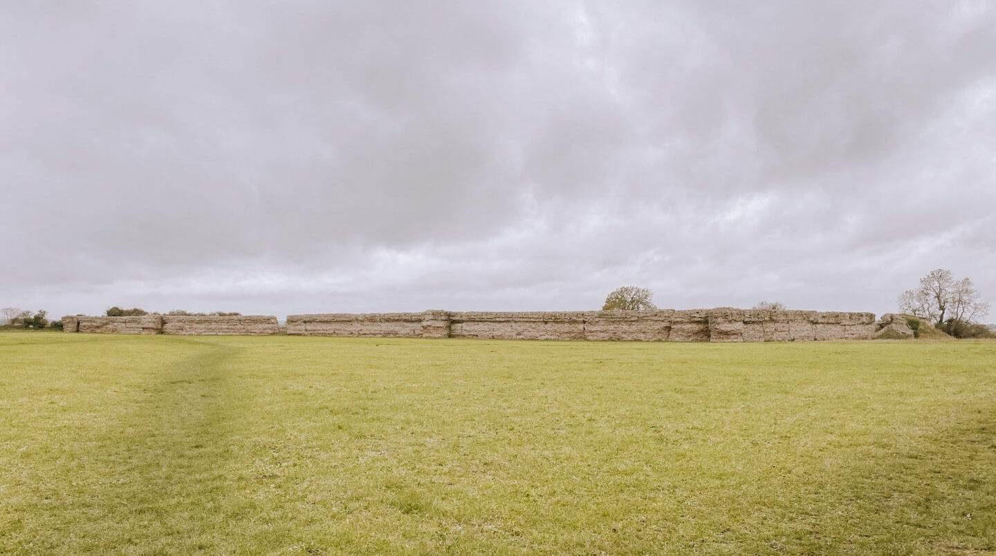 image of the fort walls of the Roman Fort, at Burgh Castle in Norfolk
