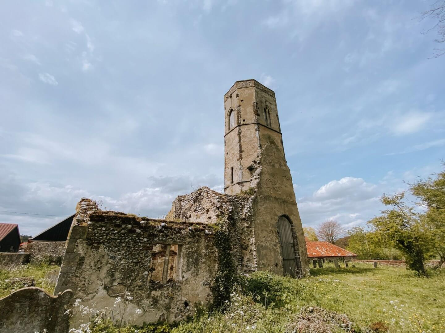 image of norfolk church ruins of St Peter and Paul, Edgefield